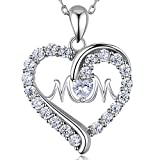 """925 Sterling Silver Heart Necklace - Billie Bijoux """"MOM, You Are Always in My Heart """" Love Platinum Plated Diamond Pendant for Mother's Day 18''"""