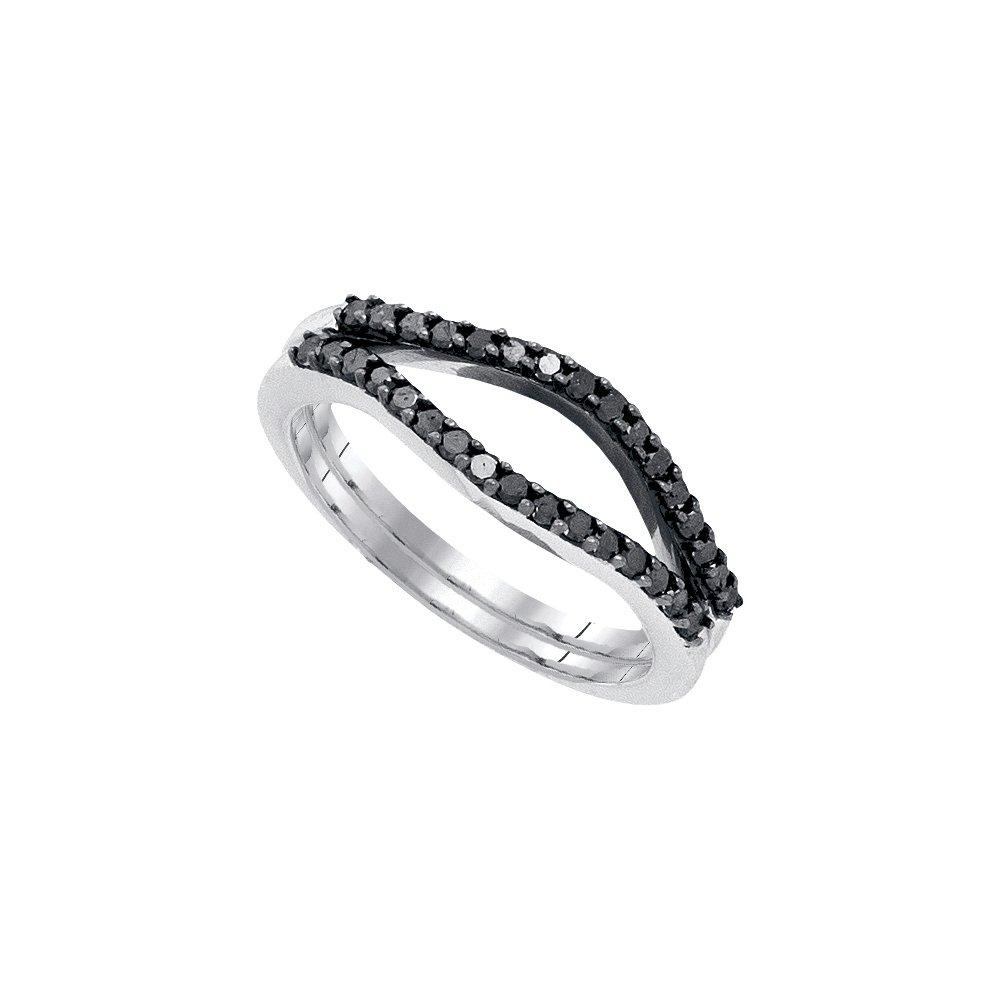 Size 11 - 10k White Gold Round Black Diamond Ring Guard Wrap Solitaire Enhancer (1/3 Cttw)