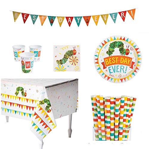 Hungry Caterpillar Party Supplies Bundle - Plates, Cups, 24 Straws, Tablecloth, and