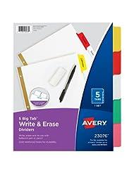 Avery Big Tab Write & Erase Dividers, 5 Multicolor Tabs, 1 Se...