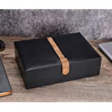 SWEETV Watch Storage Box for Men - 10 Watches Slots, Black PU Leather Jewelry Organizer Case, Removable Pillows, Large Holder