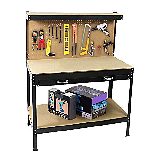 Workbench Drawer 2 - TOYEEKA Workbench for home, wood Garage Workbench kit with Tools and drawer, 472359 inch