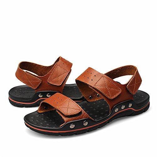 2018 skid dimensioni Sandali Outdoor shoes regolabile da Tocco grandi Spiaggia comfort grasso uomo traspirante bovina i Allacciare Mens Anti di Casual pelle Vera Uomo sandali rUPwE5rnqz