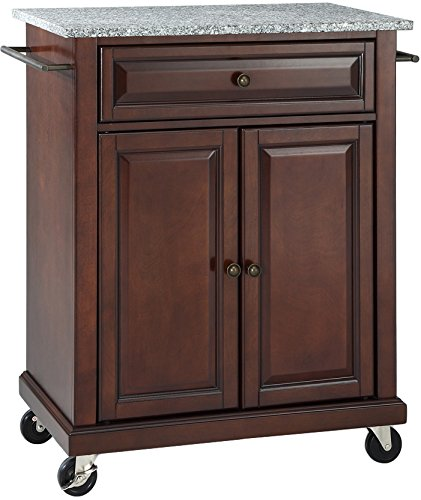 Crosley Furniture Cuisine Kitchen Island with Solid Grey Granite Top - Vintage Mahogany - Antique Kitchen Islands