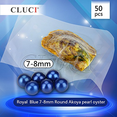 50pcs Saltwater Cultured Love Wish Round Pearl Oyster with Pearls Inside Royal Blue (7-8mm) by NY Jewelry (Image #1)