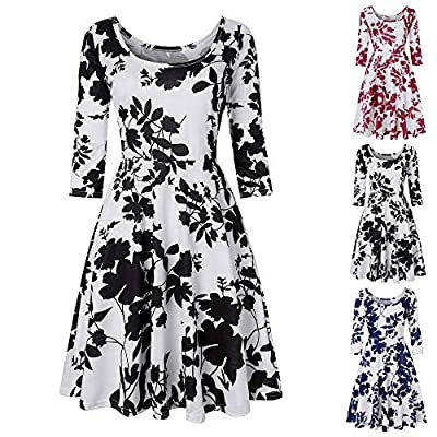 Wobuoke Women Three Quarter Sleeve&Sleeveless Printing Floral A Line Casual Dress Party Swing Mini Dress