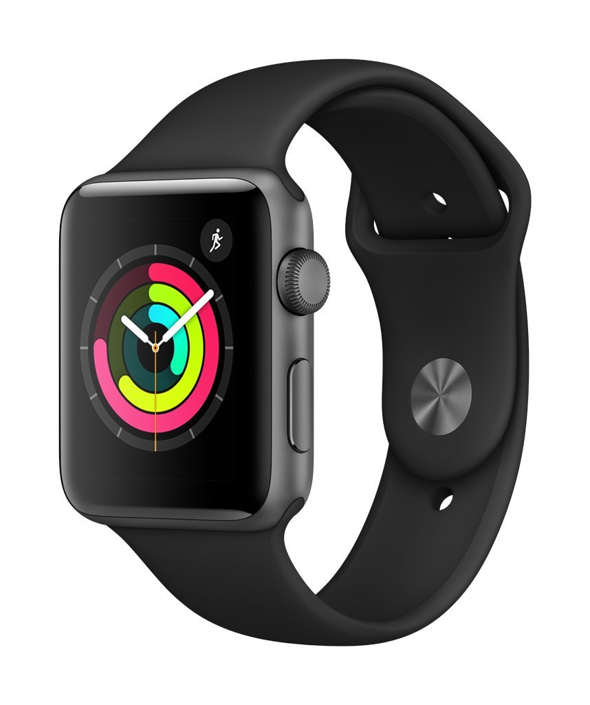 AppleWatch Series3 (GPS, 42mm) - Space Gray Aluminium Case with Black Sport Band by Apple