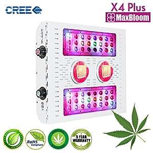 LED Grow Light COB Led Grow Light Dimmable 12-Band Full Spectrum for Indoor Plants Veg and Flower UV&IR MaxBloom CREE X4 Plus Led Grow Light