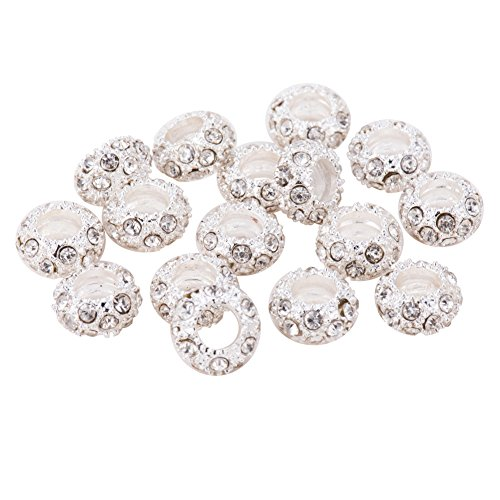 Alloy Beads - Pandahall 100PCS Crystal Alloy Rhinestone Large Hole European Beads, Silver- 11x6mm, Hole: 5mm