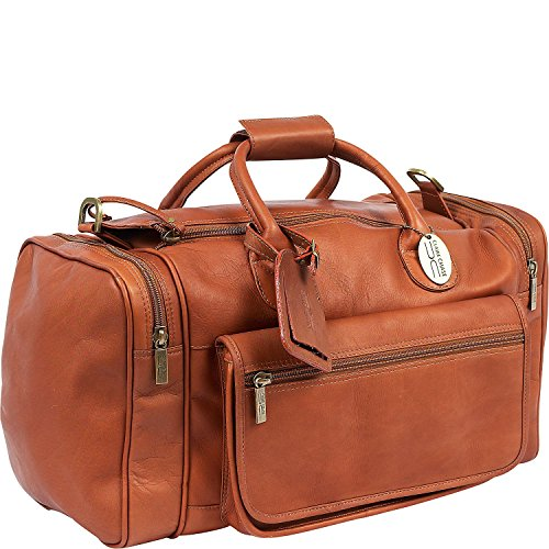 Claire Chase Classic Sports Leather Duffel Bag, Valise, Travel Luggage in Saddle ()