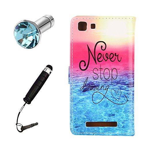 Lusee® PU Caso de cuero sintético Funda para Cubot Rainbow 3G / 4G 5.0 pulgada Cubierta con funda de silicona Never stop dreaming