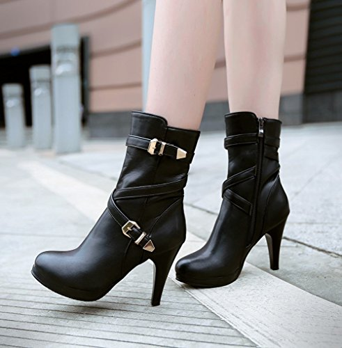 Jodhpur Womens Latasa Short Black Boots Platform heel Boots Fashion Dress Zipper High Motorcycle Buckles Boots zddSBF