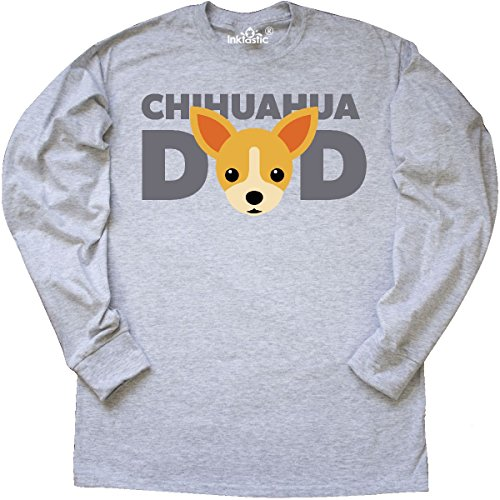 - inktastic - Chihuahua Dad Long Sleeve T-Shirt Large Ash Grey