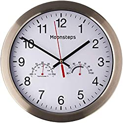 Moonsteps 12 Quartz Silent Metal Frame Digital Wall Clock No Ticking w/Temperature & Humidity Stats, White