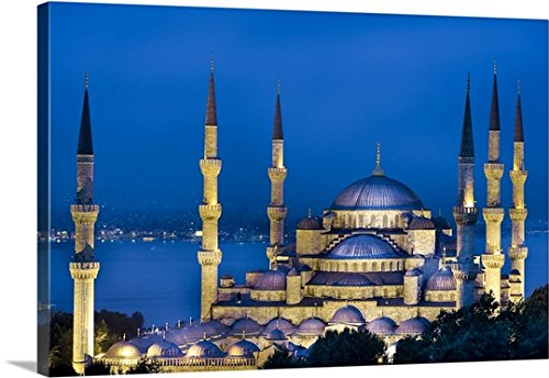 Mosque Sultan Ahmed (Anna Serrano Premium Thick-Wrap Canvas Wall Art Print Entitled Turkey, Istanbul, Bosphorus, Blue Mosque, Sultan Ahmed Mosque, The Mosque at Night)