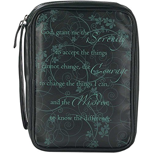 Serenity Prayer Black 8 x 11 inch Leather Like Vinyl Bible Cover Case with Handle Large by Dicksons