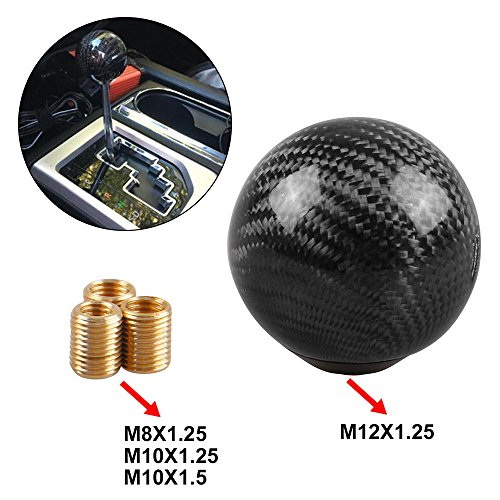 RYANSTAR Gear Shift Knob Universal Shifter Knobs with 3 Adapters Stick Shifter Round Ball Carbon Fiber Style Black