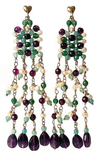 Boucles d'oreilles avec pierres dures multicolore. semi-rigides et gouttes oreilles pendantes avec Améthyste