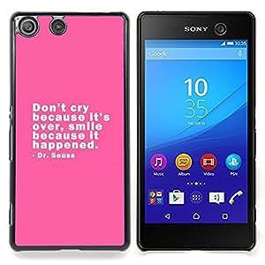 """Qstar Arte & diseño plástico duro Fundas Cover Cubre Hard Case Cover para Sony Xperia M5 E5603 E5606 E5653 (Pink Grito Sonrisa feliz Cita Dr. Positivo"""")"""