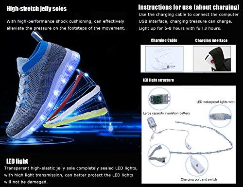 LED Erwachsene Frühling Giving Breathable Kinderschuhe USB Mr Dank 7 Herbst Grau Weihnachten Ang 1709 Halloween Schuhe Aufladbare Leuchtschuhe Farben Day für Sommer Blau qpwxXyAUS