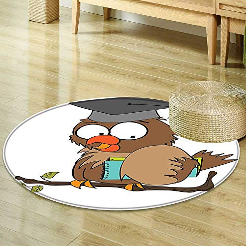 Mikihome Round Rug Kid Carpet Graduation Funny Owl Teacher Instructor on Branch Professor Intelligent Illustration Cocoa Chocolate Home Decor Foor Carpe R-24 ()