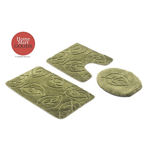 Home Must Haves 3-Piece Bath Mat Lid Cover and Contour Rug Set - Sage Green - Leaf Floral