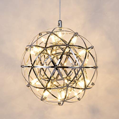 Mzithern Modern Geometric Stainless Steel Chandelier,Stainless Steel Chrome Mirror Chandelier, Modern LED Star Ball Chandelier, for riving Room Bedroom Dining Room, 3000K Warm White, 12 inches