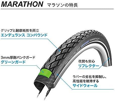 Schwalbe Marathon Black GreenGuard HS 420 700x25 Wire Bead Tire Commuter