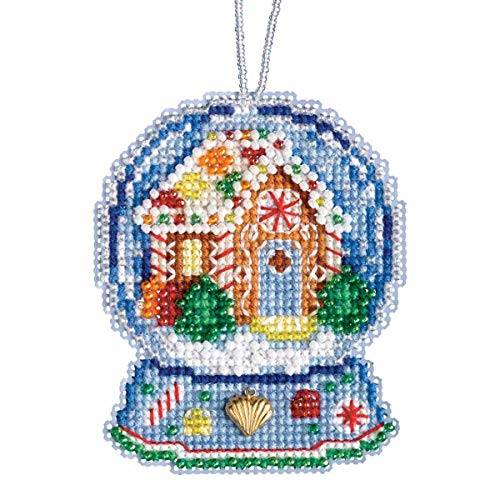 Gingerbread House Snow Globe Beaded Counted Cross Stitch Charmed Ornament Kit Mill Hill 2019 Snow Globes MH161932 - Mill Hill Charms