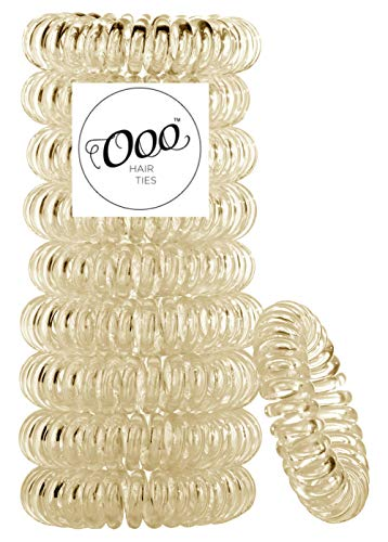 Painless PATENTED OOO Hair Ties. Ponytail holder spiral coil no traceless rubber bands. Best kids girls woman accessory all types of hair. Exercise, workouts & everyday. ASSORTED COLORS (Blonde)