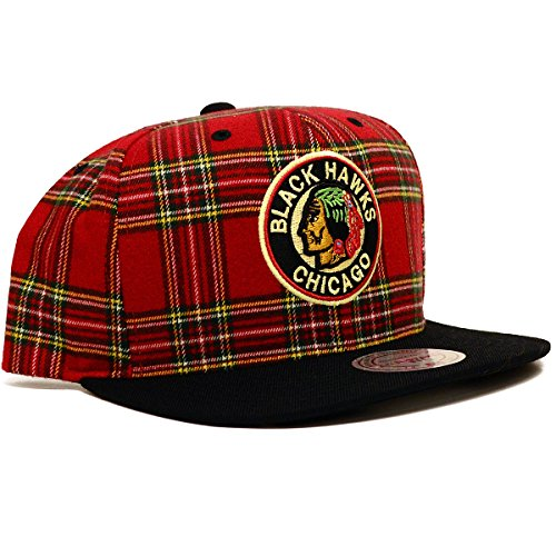 NHL Mitchell & Ness Vintage Plaid Snapback Hat (One Size, Chicago (Plaid Vintage Hat)