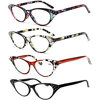 1232286b3 REAVEE Cat Eye Reading Glasses for Women 4 Pack Ladies Fashion Readers with  Rhinestones