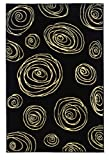 Black and Cream White Contemporary Swirl Rug R127002 (4'11 x 7'6)