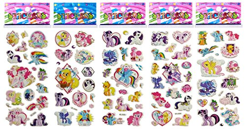 (6 Sheets Puffy Dimensional Scrapbooking Party Favor Stickers + 18 FREE Scratch and Sniff Stickers - MY LITTLE PONY)