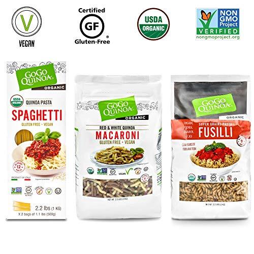 GoGo Quinoa Pasta, Fusilli, Macaroni, Spaghetti, 3-Pack of Gluten Free Dry Pasta, Organic, Vegan, Wheat-Free Noodles 6.6 lb