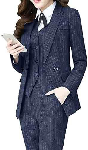 fad5748645 Women s Three Pieces Office Lady Stripe Blazer Business Suit Set Women Suits  for Work Skirt