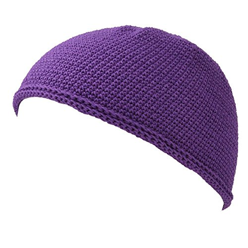 Kufi Hat Mens Beanie - Men Cotton Skull Cap Hand Made 2 Sizes Islam Purple L