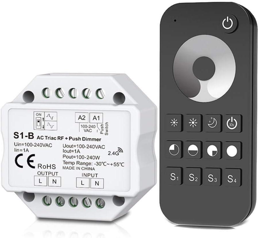 La seguridad del sistema de alarma antirrobo Dimmer triac RF inalámbrico de CA y kit de control remoto 2.4G, interruptor pulsador regulable for lámpara LED interruptor de botón de la puerta de acero i