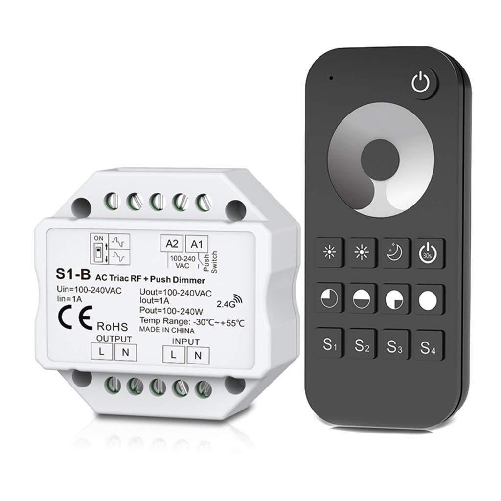 La seguridad del sistema de alarma antirrobo Dimmer triac RF inal/ámbrico de CA y kit de control remoto 2.4G interruptor pulsador regulable for l/ámpara LED interruptor de bot/ón de la puerta de acero i