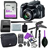 Canon Powershot SX60 Point & Shoot Digital Camera Bundle w/ Tripod Hand Grip , 64GB SD Memory , Case and More