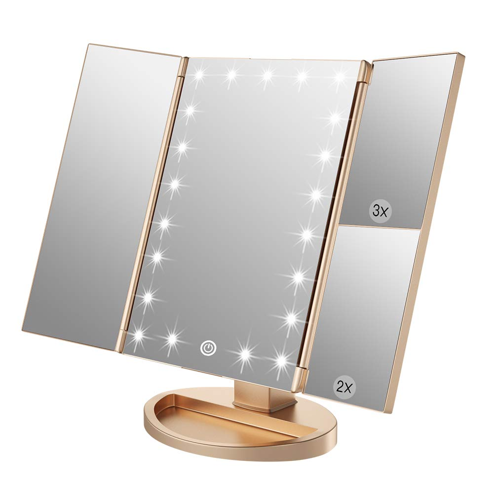 WEILY Makeup Vanity Mirror with 21 Led Lights, Trifold Dual Power Magnifying LED Lighted Cosmetic Mirrors (Black) : Beauty