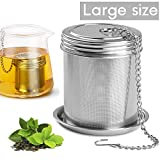 House Again Large Tea Ball Infuser & Cooking Infuser - Extra Fine Mesh Tea Strainer Screw Top 18/8 Stainless Steel with Extended Chain Hook to Brew Loose Leaf Tea, Spices & Seasonings, for Multi Cups