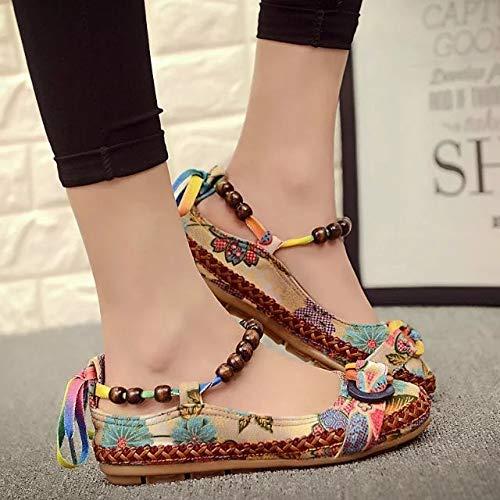 De Chaussures Occasionnels Chaussures Colorés Femme Rond Femmes Brodées Bout Perles De Ethniques Chaussures Confortables Mode Lacets Mocassins LIANGHUA Coton 4vfUZxwqf