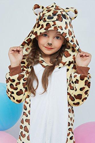 Kids Leopard Kigurumi Animal Onesie Pajamas Plush Onsie One Piece Cosplay Costume (Yellow, Brown, White) by Nothing But Love (Image #6)
