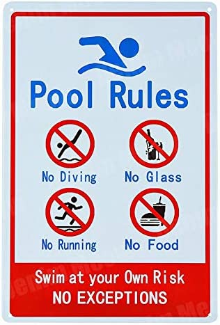 """""""NA"""" Pool Rules Signs No Diving No Running No Food No Glass Metal Tin Signs Warning Sign Easy Mounting Indoor Or Outdoor Use 20x30cm H"""