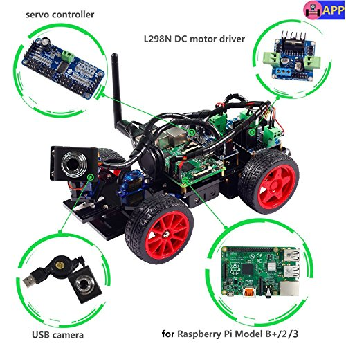 SunFounder Smart Video Car Kit Raspberry Pi DIY Robot Kit for Kids Adults Compatible with Raspberry Pi 4 Model B 3B+ 3B 2B (Pi Not Included)