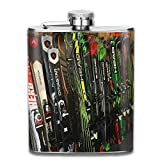 Twin Tip Snow Skis Fashion Portable Stainless Steel Hip Flask Whiskey Bottle for Men and Women 7 Oz