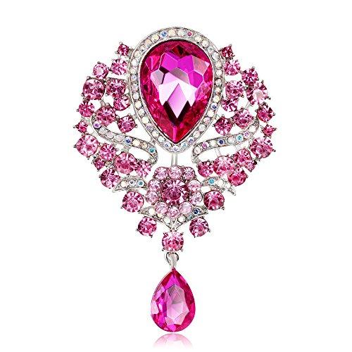 Axmerdal Wedding Bridal Big Crystal Rhinestone Bouquet Brooch Pin for Women (Pink)