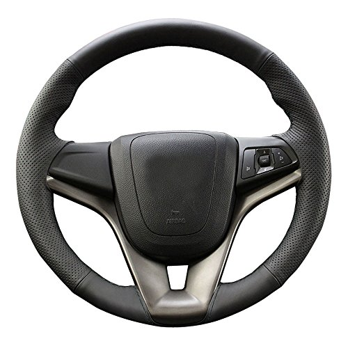 Eiseng DIY Car Steering Wheel Cover for 2011 2012 2013 2014 2015 Chevrolet Chevy Cruze Interior Accessories 15 inches Black Genuine Leather Stitch On Wrap Sew (Black thread) (Wheel Cruze Steering Chevy)