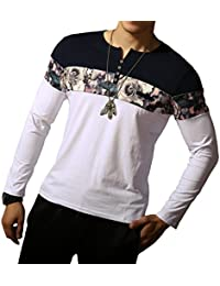 """<span class=""""a-offscreen"""">[Sponsored]</span>Men's Casual Slim Fit Long Sleeve Color Block Printing Henley T-Shirts"""